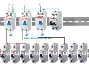 Как подать общий ноль на группу однофазных УЗО, подключенных к разным фазам